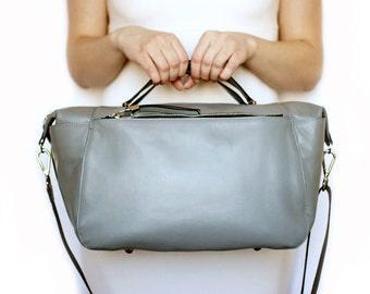 Free shipping! Gray bag, gray leather bag, sport bag, travel bag, big bag, handbag, everyday bag, tote bag, shoulder bag, handmade bag