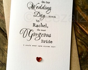 Wedding Day Card Bride Groom Designer Typography Personalised Size: A6 15x10.5cm Wife Husband Simple Love Deco
