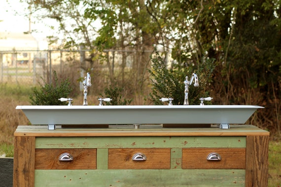 Industrial 60 Vintage Inspired Trough Sink Wall