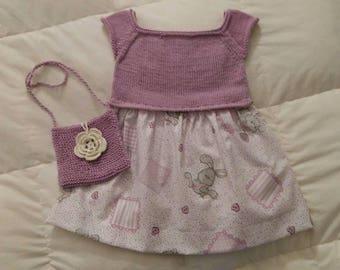 Pinafore dress and handbag cotton coordinate.