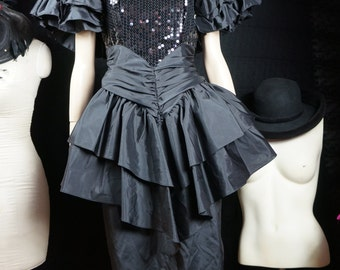 80s Avant Garde Sequin Peplum Dress / Susan Rosselli For ViJack 80's Designer Black Tafetta Peplum Party Dress / Madonna 80s Club Dress Sz S