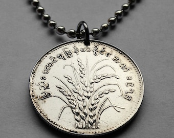 1975 Myanmar Burma 1 Kyat coin pendant Burmese Rice plant necklace Naypyidaw Mon kingdoms flowering plants agriculture blossom FAO n001728
