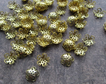 100 Brass Filigree Bead Caps Gold Colour for 10mm Beads