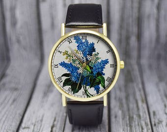 Vintage Lilac Flowers Watch | Syringa Floral Watch | Violets | Botanical | Leather Watch | Women's Watch | Birthday | Wedding | Gift Ideas