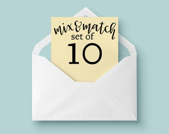 Mix and Match Cards - Set of 10 cards