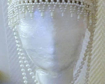 Art deco art nouveau russian pearl Kokochnik headpiece burlesque act headdress