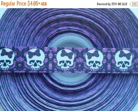 """HOT DEAL Skulls with Purple Bows 7/8"""" Grosgrain Hair Bow Craft Ribbon 782612"""