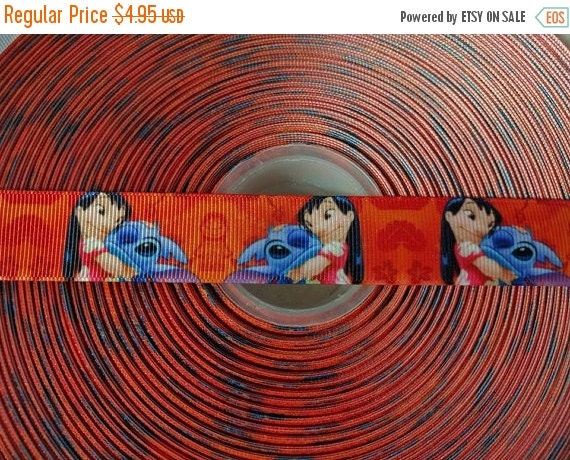 "HOT DEAL LILO & Stitch 7/8"" Grosgrain Hair Bow Craft Ribbon 782956"