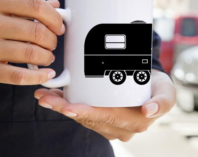 KillerBeeMoto:  U.S. Made Vintage Camping Trailer Coffee Mug (White)