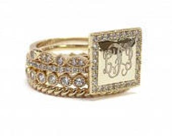 Monogrammed Stackable Ring, Gold Square Stackable Ring, Gold Ring