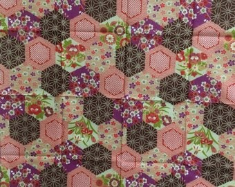 Furoshiki,  hexagon, Japanese wrapping cloth, Japanese cotton fabric, tapestry, Wall Hanging,gift ideas, Made in Japan, Free shipping