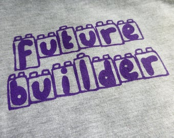 "BABY TODDLER LEGO T-Shirt Short Sleeve ""Future Builder"" Infant Screen Printed American Apparel Grey Cotton Lap Tee"