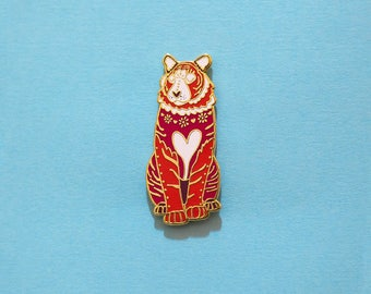 Tiger Chinese Zodiac Pin with Rubber Clasp // Hard Enamel, Cloisonne, Accesories, Flair