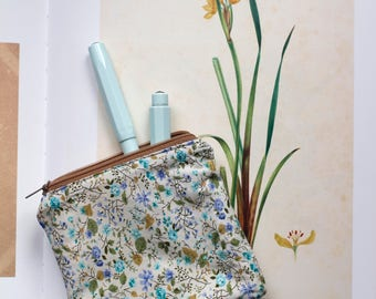 Floral print small cosmetic case cosmetic bag