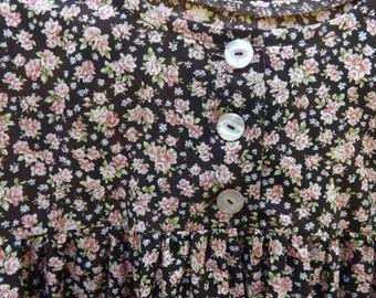 Brown & Pink Roses Cape Dress, Modest Cotton Dress, Size XL 22-24, Mennonite Cape Dress, Christian Dress, Long Christian Dress, Roses Dress