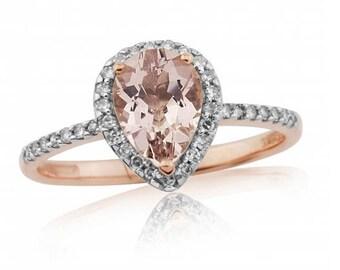 Pear Cut Morganite & Rose Gold Engagement Ring