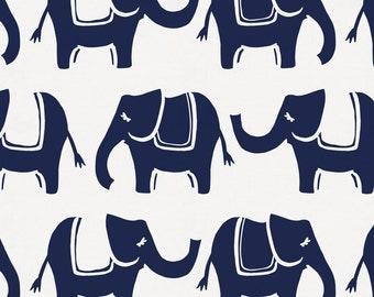 Navy Marching Elephants Organic Fabric - By The Yard - Girl / Boy / Gender Neutral