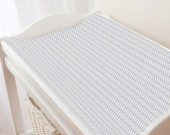 Carousel Designs White and Navy Classic Herringbone Changing Pad Cover