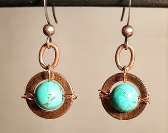 Saturn Copper Patina Earrings - Copper Earrings - Patina Jewelry