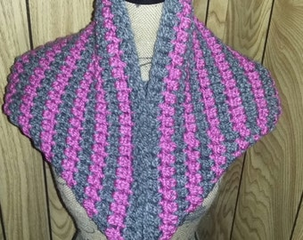 Magenta/Charcoal Gray Simple Cowl