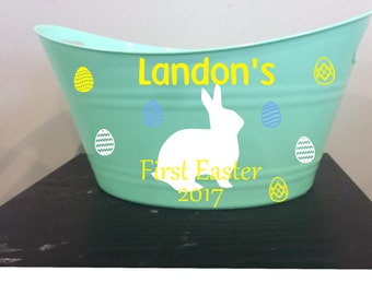 Baby's First Easter,  Easter Basket, Easter Eggs, Easter Basket, Personalized Easter Basket
