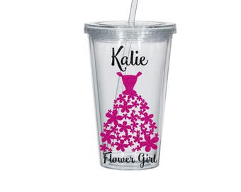 Flower Girl  Personalized Tumbler, Glitter Vinyl Flower, Your color choices