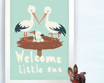 Nursery wall art new baby - Welcome Little one - Storks - kids room Wall art print - cute stork family with baby - boy and girl - kids room