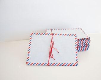 Wedding envelopes, Invitation envelopes, wedding envelopes, Par Avion, Retro, 1960,  set of 5