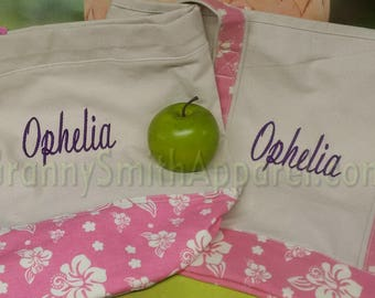 SALE ITEM** hibiscus Set for back to school! Tote bag, cinch sac book bag, in matching pink flamingo flower and canvas colors. Customize!!!
