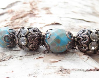 Blue Picasso Czech Glass Beaded Bracelet Attachment