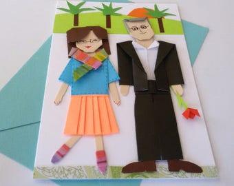 Custom Personalized Origami Paper Cut Portrait card, Unique Handmade Anniversary gift, Personalized Couple, Boyfriend, Parents gift