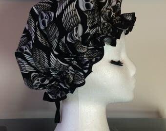 Happy Flying Winged Skulls Print Shower Cap/ Bath Hat