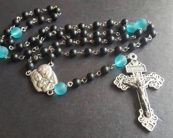 Black and Aqua Catholic Rosary