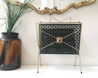 Midcentury Magazine Rack With Starburst Cut-out Metal Sides