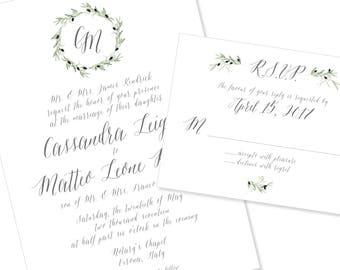 Wreath Wedding Invitation | Greenery | Script Wedding Invitation | DIY Option Available | Invitation | RSVP | Info Card #1203