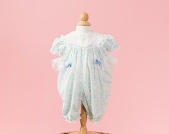 RESERVED//// Pastel Floral Bubble Romper (Size 3 Months)