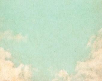 Vinyl Backdrop Blue fresco / Blue cloudy sky Photography Backdrop (V5124)