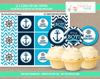 Instant Download, Nautical Baby Shower Cupcake Toppers, Nautical Cupcake toppers, Nautical Shower, Blue, Cupcake Toppers,  #0011