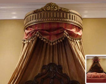 Beautiful and Elegant Bedroom Handcrafted Gold Color Bed Crown