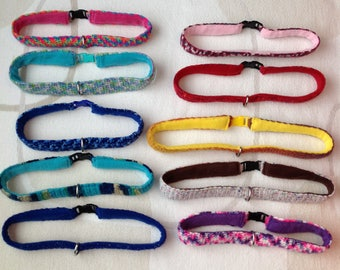 Crochet Multicolour Fursuit Collars with Fleece Lining and D-Ring