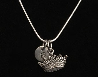 Crown Sterling Silver Necklace, Queen Sterling Silver Necklace, Royalty Necklace qb127