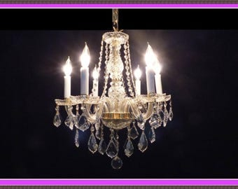 Genuine Gold Tone Full Leaded European Crystal Chandelier Superb Crystals Custom designed never used NOT a Plain Colorless Glass Chandelier!