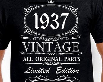 80th birthday Gift T Shirt Funny 80th birthday Present Age 80 Years 80th Gift Old Man 1937 Tshirt Grandpa Pa Bday Edition Born 80th Birthday