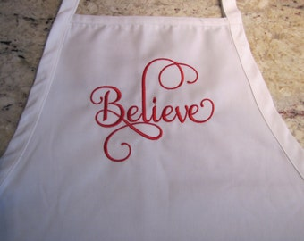 Believe Embroidered Full Length Apron with 3 Pockets adjustable at the neck