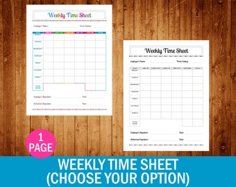 Weekly Time Sheet (Choose Your Option) - PDF Printable