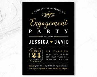 Engagement Invitation, Engagement Party Invitation Printable, Engagement Invite, We're Engaged _ EGM17_03 Gold & Black