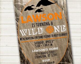 Duck Hunting - Wild One - Birthday Party Invitation - 5x7 - Printable PDF & JPG