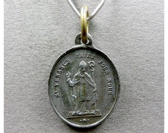 French, Antique Religious Pendant. Saint Venance Fortunat, Venantius Fortunatus and Saint Virgin Mary Rosary. Medal.