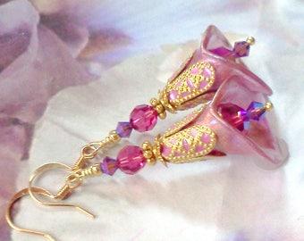 Hand Painted Earrings, Plique a Jour, Pale Pink,  Lavender Earrings, Calla Lily Earrings, Handmade Earrings, Floral Jewelry, Boho Earring