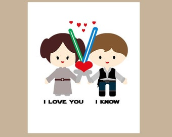 Star Wars  Anniversary Card-Star Wars Geek Card -Star Wars Valentine Card - Princess Leia - I Love You I Know
